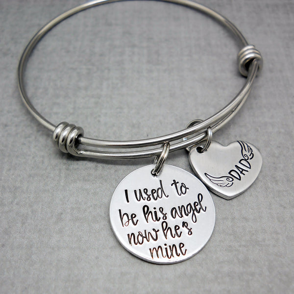 I Used To Be His Angel Memorial Bracelet | Hand Stamped Bracelet