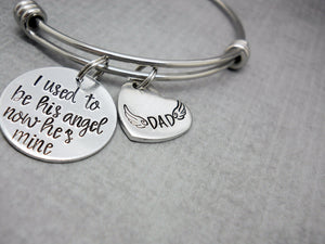 I Used To Be His Angel Memorial Bracelet | Hand Stamped Bracelet, side view