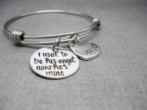 I Used To Be His Angel Memorial Bracelet | Hand Stamped Bracelet, Front View