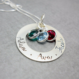 Sterling silver personalized Mothers washer necklace with kids names