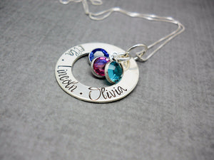 Personalized Washer Necklace with Kids Names in Smores Font, close up