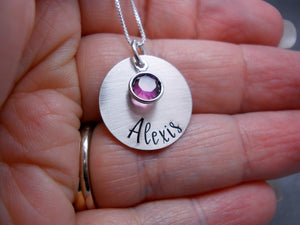 Personalized Name Necklace, Sterling Silver, held in hand