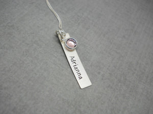 Hand Stamped Bar Name Necklace in Sterling Silver, Shadows font - Sweet Tea & Jewelry