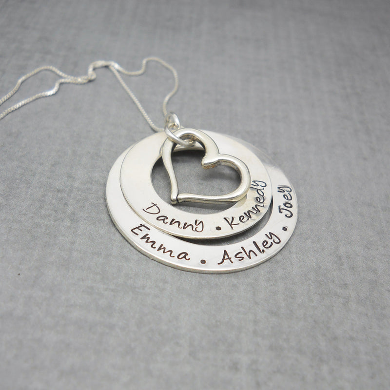 Sterling silver double washer mother's necklace with quote - DCDJewelry