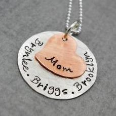 Sterling Silver and Copper Custom Mothers Necklace With Kids Names