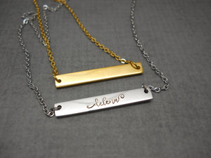 Personalized bar name necklace in stainless steel - Sweet Tea & Jewelry