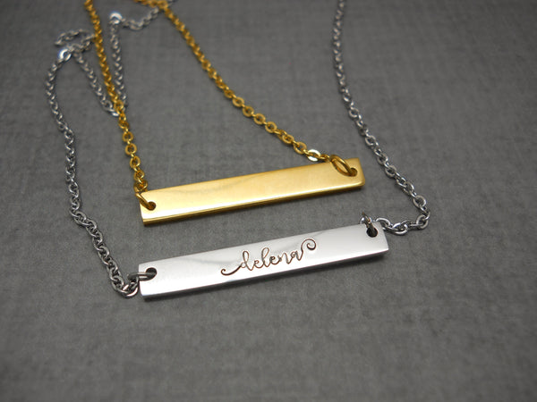 Personalized bar name necklace in stainless steel - Delena Ciastko Designs