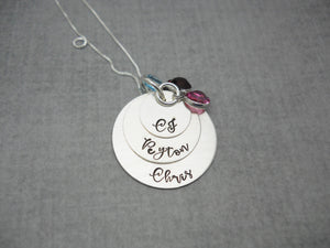 3 Layered Sterling Silver Mom Necklace with Kids Names, flat lay