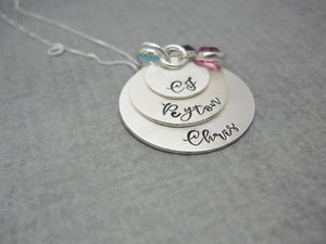3 Layered Sterling Silver Mom Necklace with Kids Names, different angle
