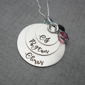 3 Layered Sterling Silver Mom Necklace with Kids Names