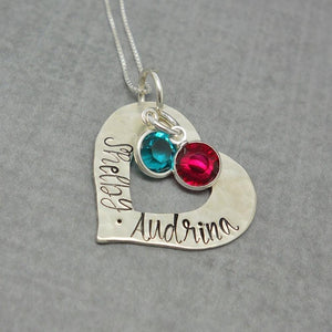 Custom Textured Sterling Silver Personalized Heart Necklace with Kids Names