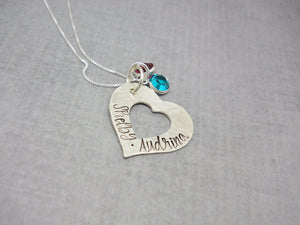 Custom Textured Sterling Silver Personalized Heart Necklace with Kids Names, birthstones tucked behind to see metal