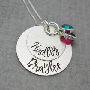 Sterling silver double layered personalized mom necklace with kids names