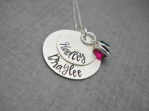 Sterling silver double layered personalized mom necklace with kids names - Delena Ciastko Designs