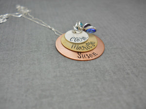 Stacked multi metal personalized necklace for mom