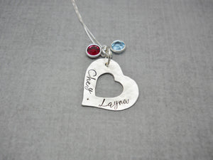 Sterling silver personalized Mothers heart necklace with kids names - Delena Ciastko Designs