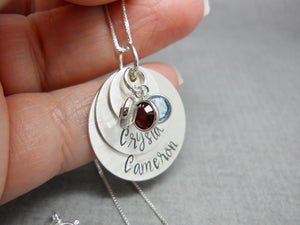 Sterling silver 3 layered mothers necklace with kids names