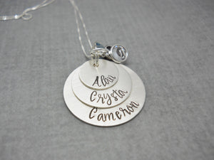 Sterling Silver 3 Layer Personalized Mom Necklace with Kids Names - Sweet Tea & Jewelry