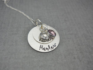Double Stacked Sterling Silver Personalized Mom Necklace with Kids Names, with charms