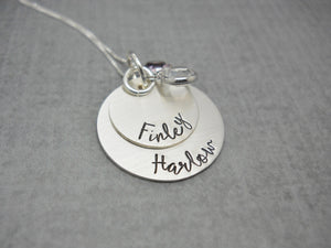 Double Stacked Sterling Silver Personalized Mom Necklace with Kids Names, flat lay