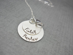 Double Stacked Sterling Silver Personalized Mom Necklace with Kids Names, alternate angle