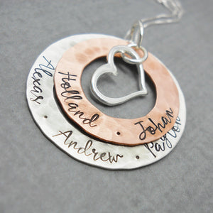 Layered Sterling Silver and Copper Personalized Mothers Necklace - Delena Ciastko Designs