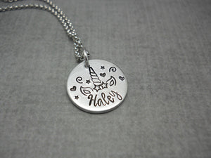 Unicorn name necklace, personalized