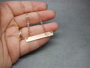 Love Bar Necklace | Stamped Bar Necklace, In Hand