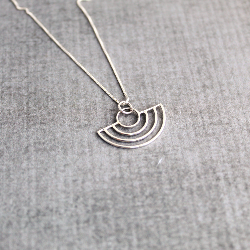 Sterling silver half circles geometric minimalist necklace