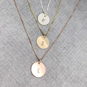 Personalized Initial necklace, sterling silver, gold, rose gold
