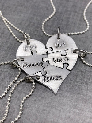 5 piece Heart Puzzle Necklace set for best friends or bridesmaids