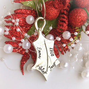 Holly Leaf Personalized Christmas Ornament