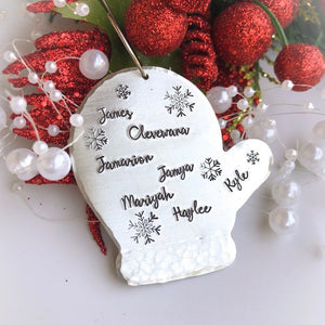 personalized Christmas ornament, glove ornament