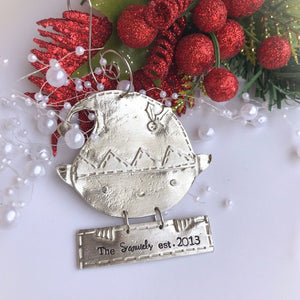 Personalized Hand Stamped Elf Christmas Ornament