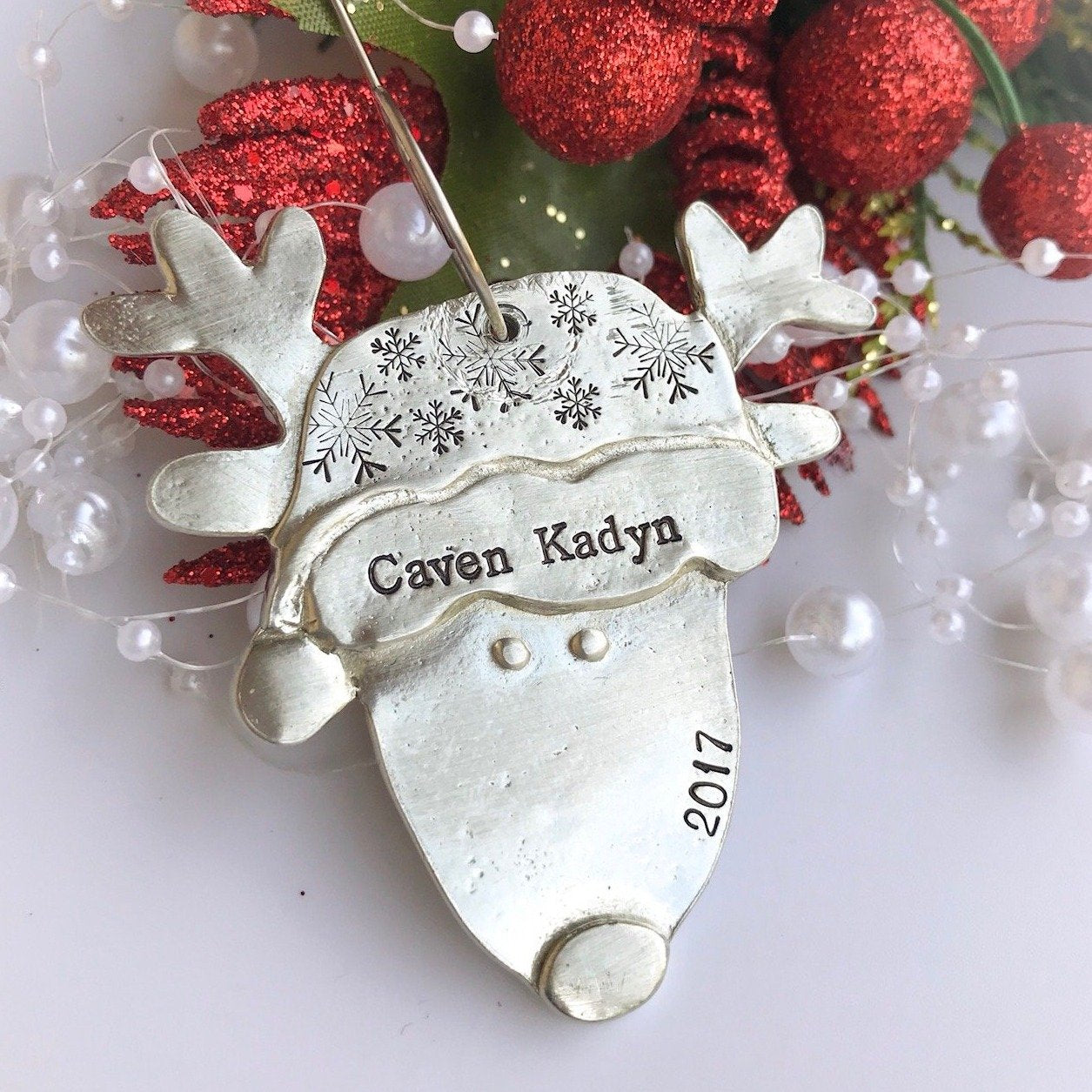 Pewter Reindeer Christmas Ornament Personalized Christmas Ornament