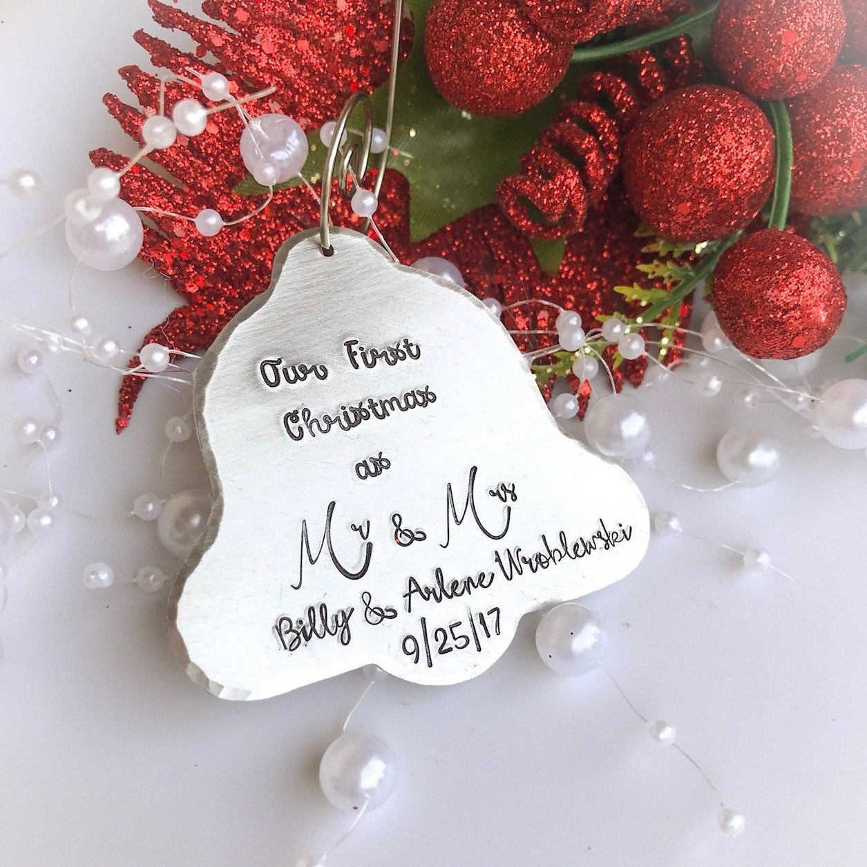 personalized bell christmas ornament first christmas as mr and mrs