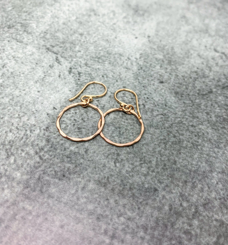 Rose Gold karma earrings, Rose Gold hammered circle earrings