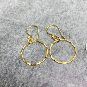 Gold Karma Earrings, Gold hammered circle earrings