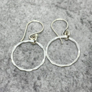 Sterling silver karma earrings, Sterling hammered circle earrings