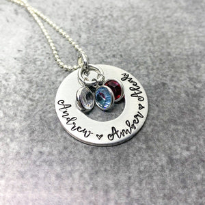 Personalized Mom washer necklace with floating birthstones