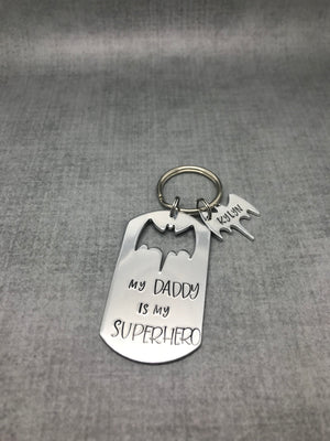 Super Hero Bat Dad Keychain