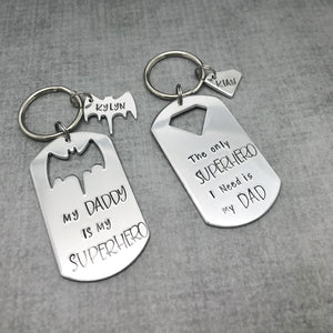 Super Hero Dad Keychain Bat Dad Keychain