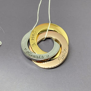 Personalized mixed metal 3 Russian ring necklace, sterling chain