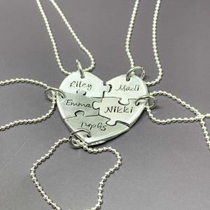 Best Friends Heart Puzzle Necklace 5 Piece Set, flat lay