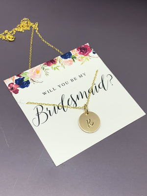 Bridesmaid proposal necklace, Bridesmaid gift gold