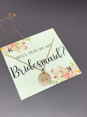 Bridesmaid proposal necklace, Bridesmaid gift rose gold