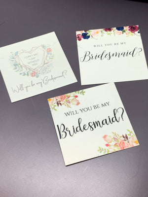 Bridesmaid proposal necklace cards