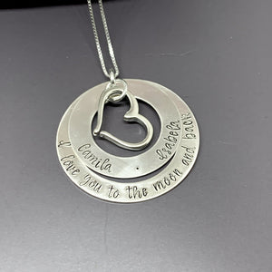Sterling silver personalized double washer necklace