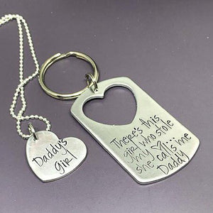 There's this girl who stole my heart key chain set, daddy's girl