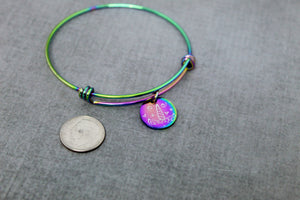 Rainbow unicorn bangle bracelet, unicorn horn bracelet